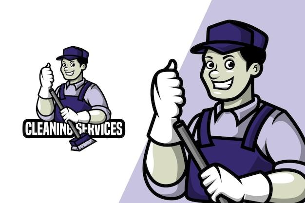 Servicios de limpieza - plantilla de logotipo de mascota