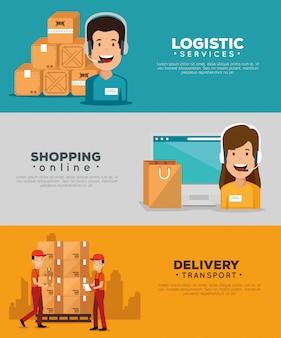 Servicios logísticos con agente de soporte y conjunto de banners informáticos