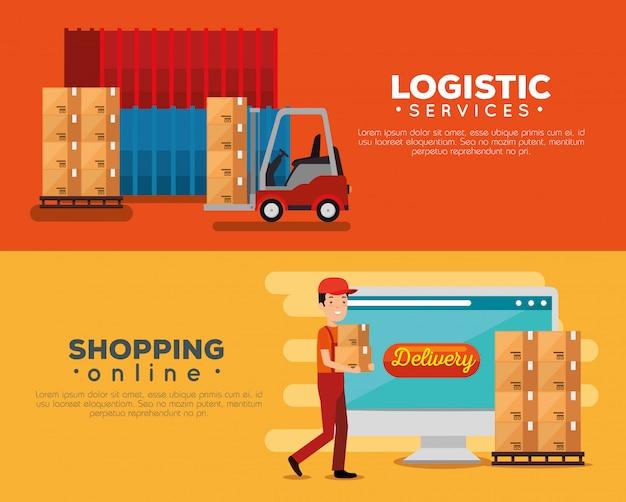 Servicios logísticos con conjunto de banner de trabajador de entrega