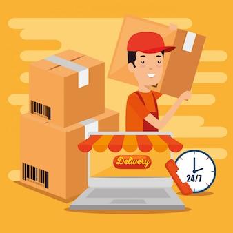 Servicios logísticos con laptop