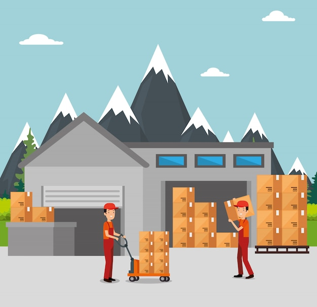 Servicios logísticos con trabajadores de entrega en equipo.