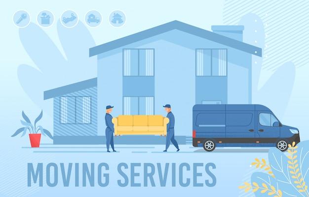 Servicios de mudanzas publicidad página web diseño de pancarta