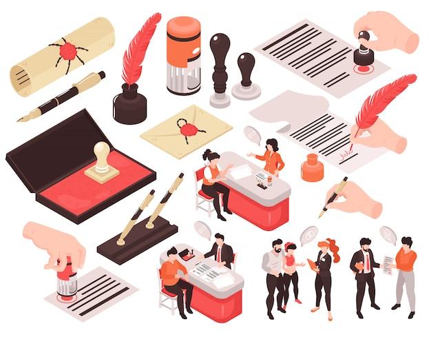 Servicios de notario isométrico conjunto de imágenes aisladas con personajes humanos pensaron burbujas y manos con bolígrafos