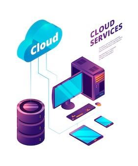 Servicios en la nube 3d, tecnologías informáticas de seguridad en línea, dispositivos de conexión a la nube, pc, smartphone, servidor portátil, concepto isométrico