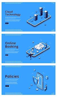 Servicios online para telefonía móvil. concepto de tecnologías de internet, sistemas digitales para teléfonos inteligentes. vector conjunto de banners de tecnología en la nube, reservas online y políticas con ilustraciones isométricas