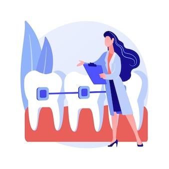 Servicios de ortodoncia concepto abstracto ilustración vectorial. departamento de clínica de ortodoncia, odontología familiar, aparato dental, higiene bucal, centro de dientes, metáfora abstracta del servicio de estomatología.