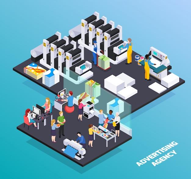 Servicios de personal de agencias de publicidad composición isométrica con anuncios diseñadores clientes promoción imprenta producción corte ilustración