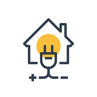 Servicios de reparación y mantenimiento de electricidad, casa con enchufe, seguridad eléctrica, ilustración lineal