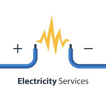 Servicios de reparación y mantenimiento de electricidad, dos cables desnudos, ilustración