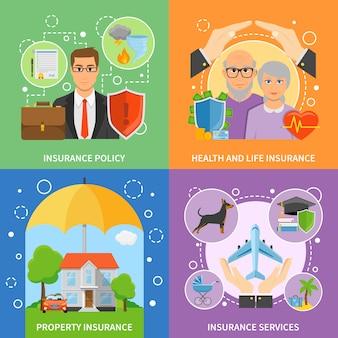 Servicios de seguros 4 iconos planos cuadrados