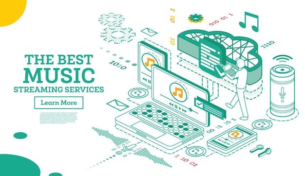 Servicios de transmisión de música. concepto isométrico. ilustración