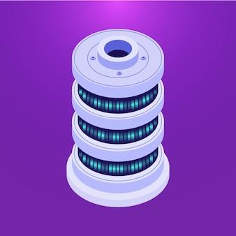 Servidor de base de datos isométrica en púrpura