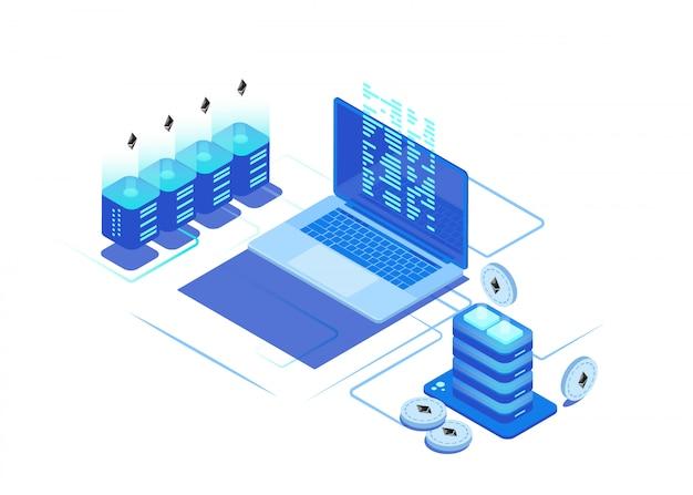 Servidor de la granja de servidores de la moneda crypto. centro de datos