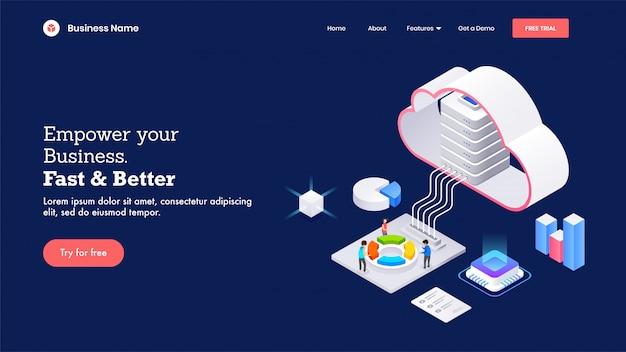 Servidor en la nube 3d conectado con un elemento infográfico como un gráfico circular, un gráfico de barras y un chip para empower your business fast & better basada en la página de inicio