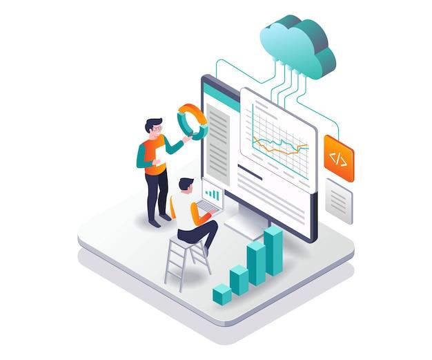 Servidor en la nube de análisis de datos en diseño isométrico