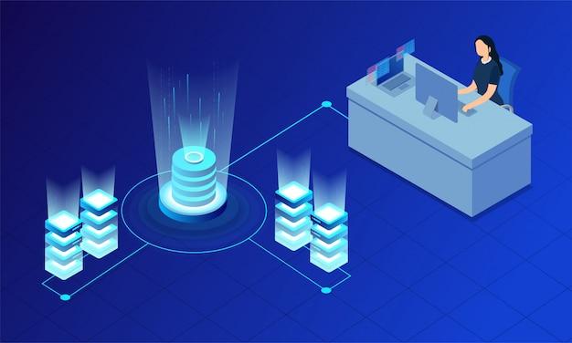 Servidores resplandecientes conectados con base de datos.