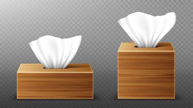Servilleta de papel en maqueta de cajas de madera, abra los paquetes en blanco con toallitas de extracción de pañuelos. accesorios de higiene, paquetes de madera marrón aislados sobre fondo transparente, ilustración 3d realista, maqueta