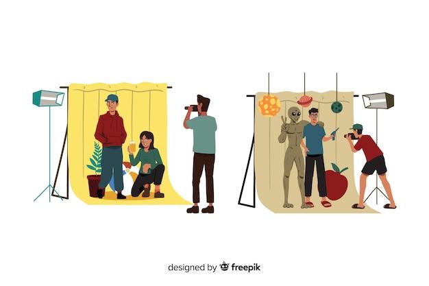 Sesión de fotos con personas ilustradas