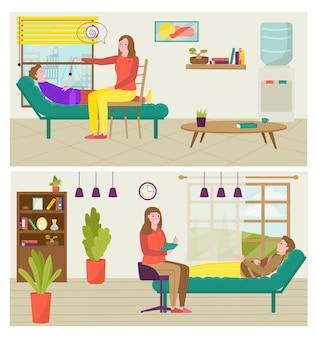 Sesión de psicólogo para hombre ilustración vectorial apoyo de psicología para chico paciente personaje psico ...