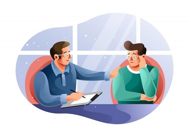 Sesión de psicoterapia con un paciente.