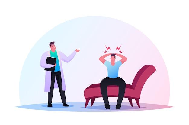 Sesión de psiquiatra en clínica de salud mental