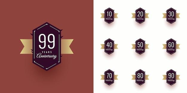 Set 10 20 30 a 99 años diseño de plantilla de aniversario