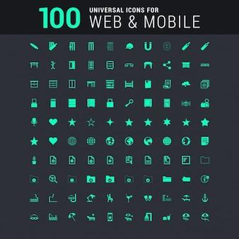 Set de 100 iconos universales verdes