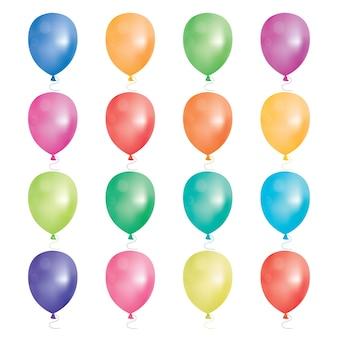 Set de 16 globos de fiesta. ilustración. globos de diferentes colores aislados sobre fondo blanco.