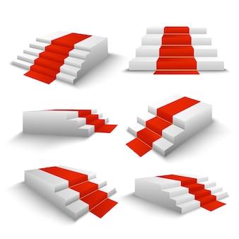 Set 3d de escaleras de alfombra roja