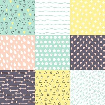 Set con 9 patrones sin fisuras doodle dibujados a mano.