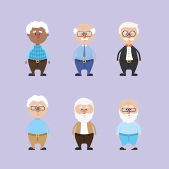 Set abuelos con peinado y ropa.