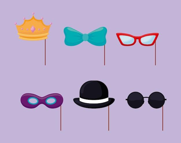 Set de accesorios de fiesta decorativos.