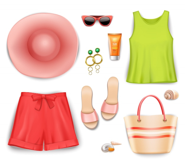Set de accesorios de playa para mujer