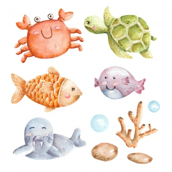 Set de acuarela animal bajo el agua