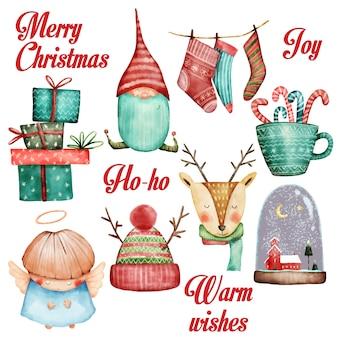 Set de acuarela de navidad