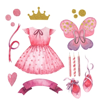 Set de acuarela de niños lindos para niña princesa