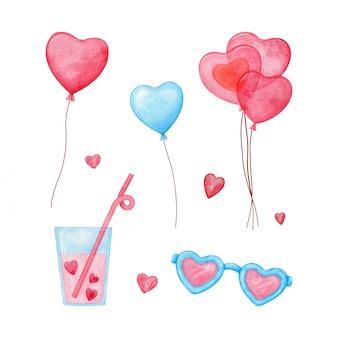 Set de acuarela de san valentín con globos, refrescos, corazones y gafas de sol