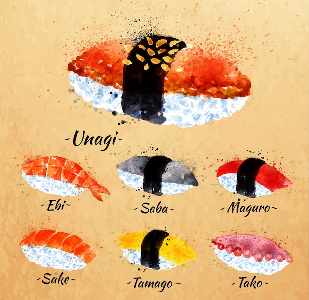 Set de acuarela de sushi dibujado a mano con manchas y manchas unagi, sabe, maguro, sake