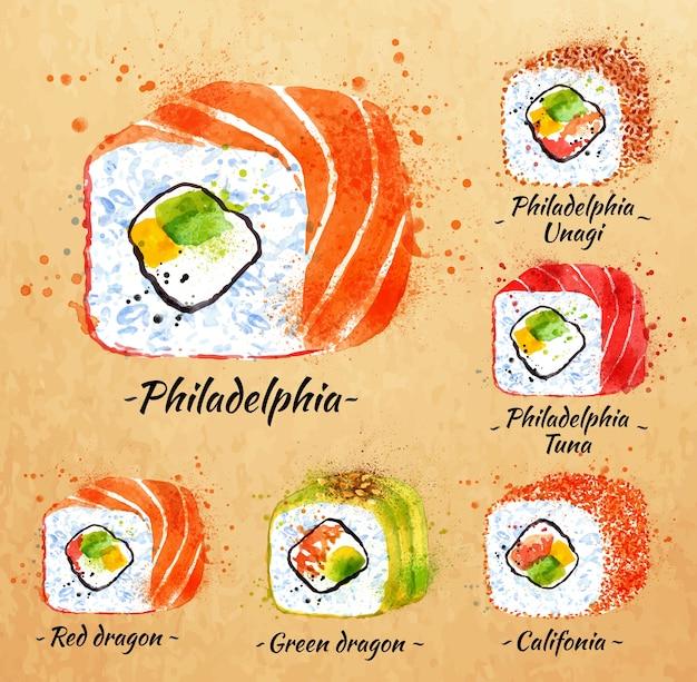 Set de acuarela de sushi dibujado a mano con manchas y rollos, philadelphia, dragón rojo