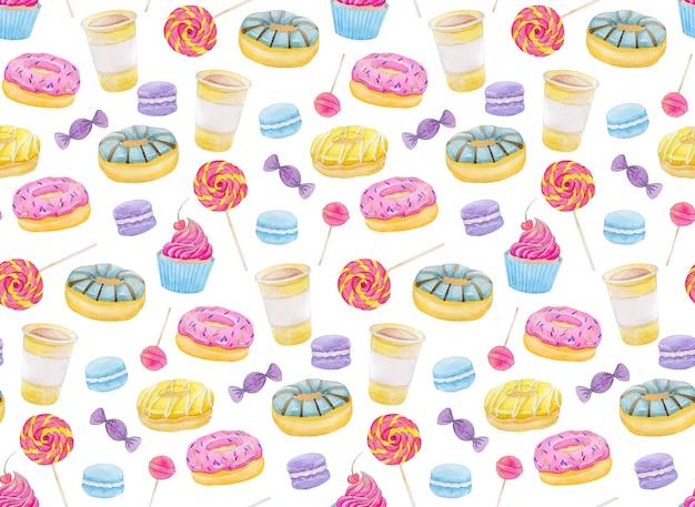 Set de acuarelas dulces con donuts, dulces, capcake, lollipop, macarrones y café.