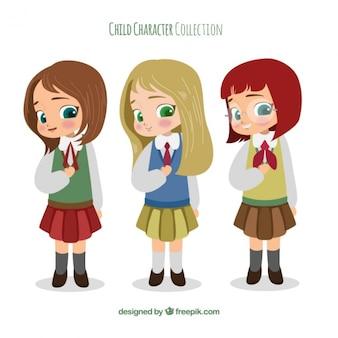 Set de adorables chicas con uniforme de colegio dibujadas a mano