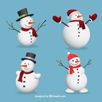 Set de adorables muñecos de nieve