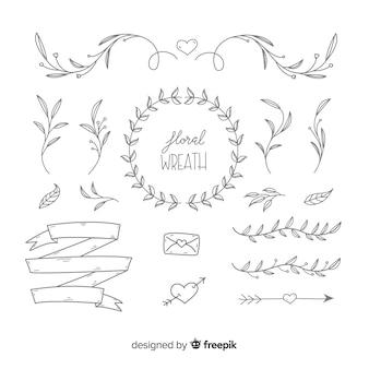 Set de adornos de boda dibujados a mano