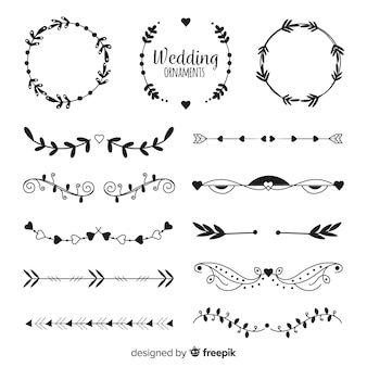 Set de adornos de boda dibujados