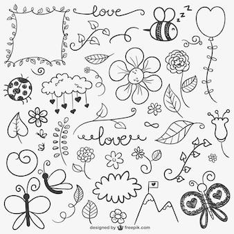 Set de adornos caligráficos