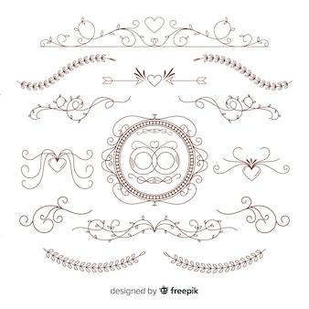 Set de adornos dibujados de boda