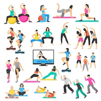Set de aerobics de gimnasia de yoga para personas