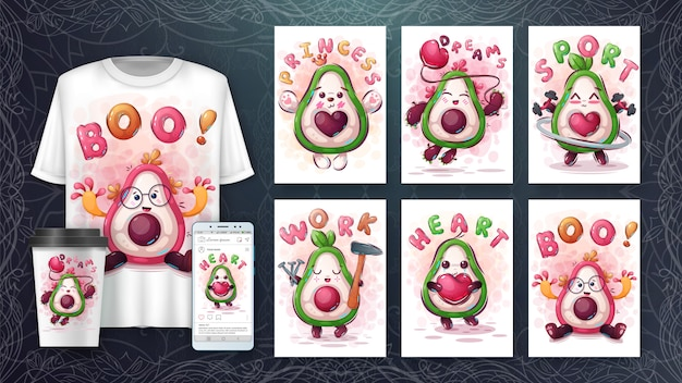 Set aguacate - póster y merchandising
