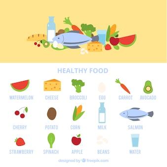 Set de alimentos saludables en diseño plano