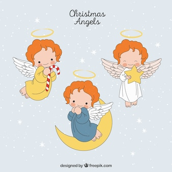 Set de ángeles navideños dibujados a mano